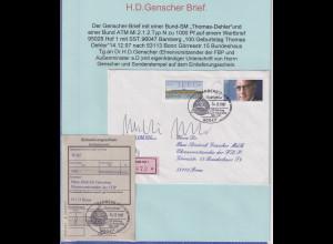 ATM Sanssouci Mi.-Nr. 2.1.1 Wert 1000 auf Brief an H.D. Genscher, 14.12.1997