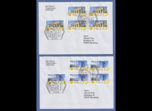 2 Briefe mit Sonder-O BARMSTEDT, jeweils mit MEF 5x Fehldruck €*0,11 Tor / Tower