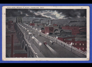 AK Cleveland Ohio, high level bridge at night, gelaufen 1924