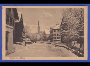 AK Weiler im Allgäu Stadt bei Schnee, gelaufen 1925