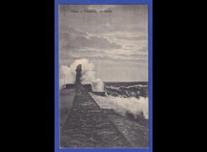 AK Pillau - Nordmole im Sturm, gelaufen 1924