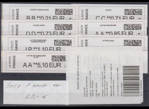 Frankreich ATM 2017 Freimarke Data-Matrix-2D-Code oben Satz 7 Werte **