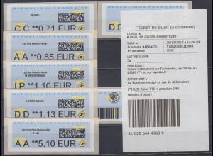 Frankreich ATM 2017 Freimarke Papierflieger Druck NABANCO Satz 6 Werte **