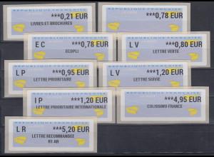 Frankreich ATM 2017 Freimarke Papierflieger Druck Zebra Satz 9 Werte **