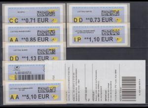 Frankreich ATM 2017 Freimarke Papierflieger Druck LISA 2 Satz 6 Werte **