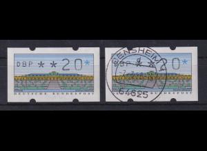 ATM Sanssouci, DBP dünn Mi.-Nr. 2.1.1 Farbvariante lebhaftkobalt Wert 20 ** / O