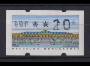 ATM Sanssouci, DBP dünn Mi.-Nr. 2.1.1 Farbvariante lebhaftkobalt 2-fach-Druck **
