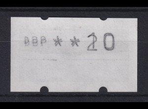 ATM Sanssouci, DBP dünn Mi.-Nr. 2.1.1 Doppeldruck 10/20 auf Gummiseite **