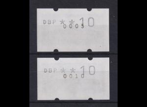 ATM Sanssouci, DBP dünn Mi.-Nr. 2.1.1 ATM mit ZNR 0005 und 0010 je Gummidruck !