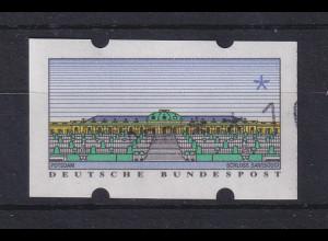 ATM Sanssouci, DBP dünn Mi.-Nr. 2.1.1 Werteindruck nach rechts unten verschoben