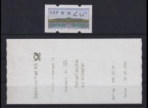 ATM Sanssouci, DBP dünn Mi.-Nr. 2.1.1 Teildruck, Ziffern 2 und 0 unvollständig