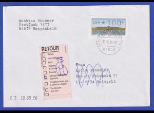 ATM Sanssouci, DBP dünn Mi.-Nr. 2.1.1 Farbvariante lebhaftkobalt Wert 100 Brief