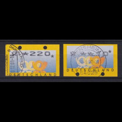 ATM Deutschland Posthörner Mi.-Nr. 3.2 je eine ATM OGL und UGL gestempelt