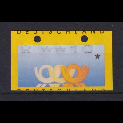 ATM Deutschland Posthörner Mi.-Nr. 3.2 Wert 10 mit oben geschl. Löchern (OGL)