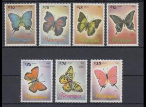 Nicaragua 1986 Schmetterlinge Mi.-Nr. 2717-2723 kpl. Satz 7 Werte **