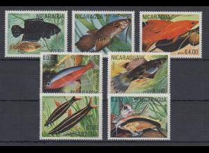 Nicaragua 1990 Fische Mi.-Nr. 2208-2214 kpl. Satz 7 Werte **