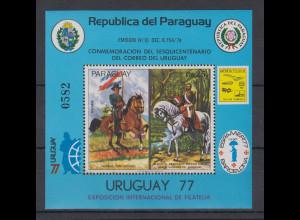 Paraguay Expo 1977 Uruguay Pferde Blockausgabe Mi.-Nr. Block 305 **