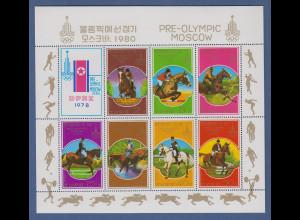 Korea Nord Olympia 1980 Moskau Pferdesport Mi.-Nr. 1707-1713 Kleinbogen **