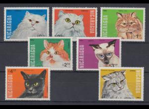 Nicaragua 1984 Katzen Mi.-Nr. 2482-2488 kpl. Satz 7 Werte **