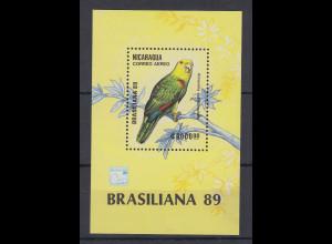 Nicaragua 1989 exotische Vögel Mi.-Nr. Block 184 **