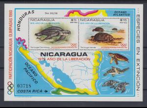 Nicaragua 1980 Schildkröten Mi.-Nr. Block 114 **