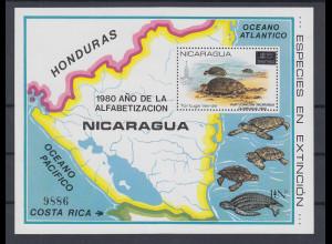 Nicaragua 1980 Schildkröten Mi.-Nr. Block 136 **