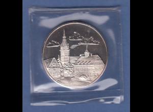 Silbermedaille Echterdingen Stadtansicht mit Kirche, Wappen ca. 20g Ag986