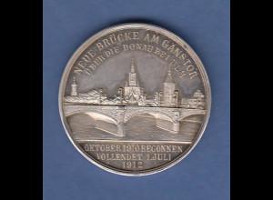 Silbermedaille Ulm 1912 Neue Brücke am Ganstor 1910-12, Ulmer Fischerstechen