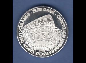 Silbermedaille Politik Partei CDU zum Dank Adenauer, Kohl, Merkel ect. Ag 1000