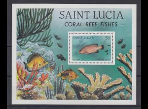 St. Lucia 1983 Fisch im Korallenriff Mi.-Nr. Block 37 **