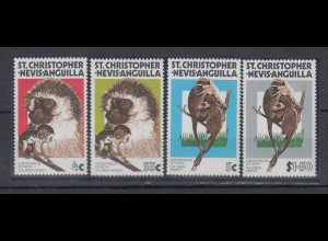 Nevis 1978 Affen, grüne Meerkatze Mi.-Nr. 343 - 346 **