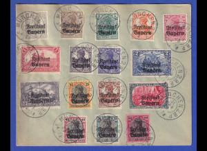 Bayern Germania-Aufdrucke Mi.-Nr. 136-151 kpl. Satz 16 Werte gest. auf Umschlag