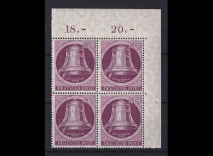 Berlin 1951 Glocke links 40-Pfennig-Wert Mi.-Nr. 79 Eckrand-Viererblock OR **
