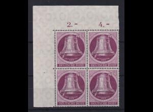 Berlin 1951 Glocke links 40-Pfennig-Wert Mi.-Nr. 79 Eckrand-Viererblock OL **