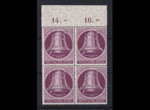 Berlin 1951 Glocke links 40-Pfennig-Wert Mi.-Nr. 79 Oberrand-Viererblock **