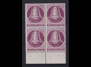 Berlin 1951 Glocke links 40-Pfennig-Wert Mi.-Nr. 79 Unterrand-Viererblock **