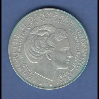Dänemark Silbermünze 10 Kronen Prinzessin Margrethe & Frederik IX. 1972