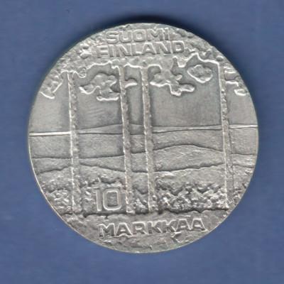Finnland 1975 Silbermünze Urho Kekkonen , Kiefernlandschaft , 10 Markkaa