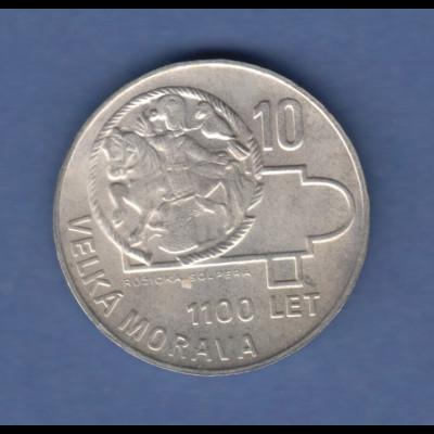 Tschechoslowakei Silber-Gedenkmünze 10 Kronen Velka Morava 1966