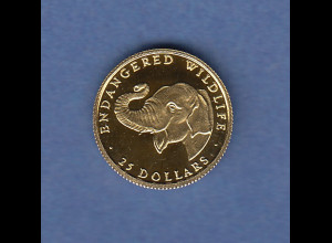Goldmünze Cook Islands Elefant Endangered Wildlife 999er Gold, 1,24g PP