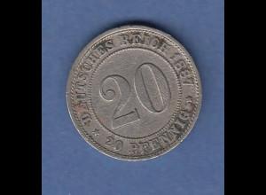 Deutsches Kaiserreich 20 Pfennig F 1887