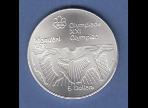 Kanada Silber-Münze Olympische Spiele Montreal 1976 5 Dollar Fechter