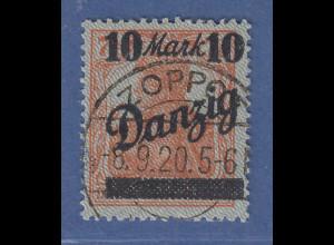 Danzig 10 Mark mit DOPPELTEM NETZUNTERDRUCK, Mi.-Nr. 31 III gest. Oechsner BPP