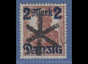 Danzig 2 Mark auf Germania Mi.-Nr. 28 II echt gestempelt, gepr. INFLA und BPP !