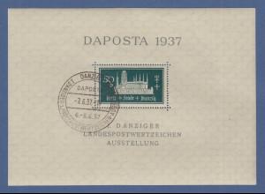 Danzig 1937 Blockausgabe DAPOSTA Mi.-Nr. Block 1b mit Sonder-O 7.6.37