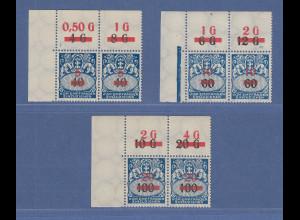Danzig 1932 Portomarken mit Aufdruck Mi.-Nr. 40-42 ECKRAND-PAARE **
