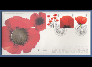 Großbritannien Coin-FDC 2008, 90 Jahre Ende 1.WK, mit Sondermedaille