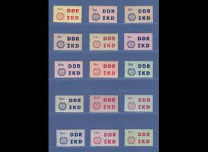 DDR Dienstmarken C Laufkontrollzettel des ZKD Mi.-Nr. 1-15 Satz kpl. **