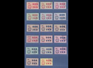 DDR Dienstmarken C Laufkontrollzettel des ZKD Mi.-Nr. 16-30 kpl. mit UNGÜLTIG-O