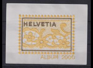 Schweiz 2000 Vignetten Block Stickerei auf Seide gelb / braun